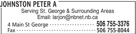 Johnston Peter A (506-755-3376) - Display Ad - Serving St. George & Surrounding Areas ------------------ 506 755-3376 4 Main St George -------------------------------- Fax 506 755-8044 JOHNSTON PETER A