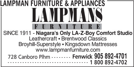 Lampman Furniture & Appliances (905-892-4701) - Annonce illustrée======= -