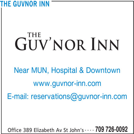 The Guv'nor Inn and Pub (709-726-0092) - Annonce illustrée======= - Near MUN, Hospital & Downtown www.guvnor-inn.com ---- 709 726-0092 Office 389 Elizabeth Av St John s THE GUVNOR INN