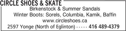 Circle Shoes & Skate Exchange (416-489-4379) - Annonce illustrée======= -