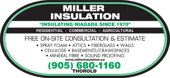 Miller Insulation (905-680-1160) - Display Ad - INSULATING NIAGARA SINCE 1970 RESIDENTIAL  -  COMMERCIAL  -  AGRICULTURAL FREE ON-SITE CONSULTATION & ESTIMATE SPRAY FOAM   ATTICS   FIBERGLASS   WALLS CELLULOSE   BASEMENTS/CRAWLSPACES MINERAL FIBRE   SOUND PROOFING www.millerinsulation.ca 905 680-1160 THOROLD