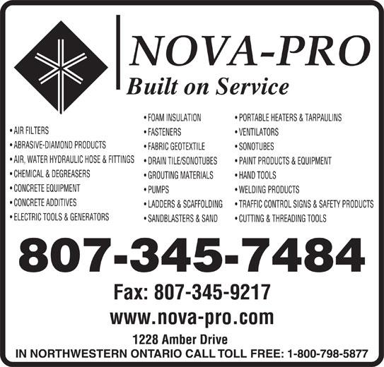 Nova-Pro Industrial Supply Ltd (807-345-7484) - Display Ad - www.nova-pro.com 807-345-7484 Fax: 807-345-9217