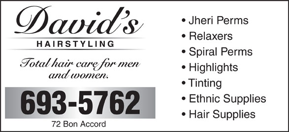 David's Hair Styling (506-693-5762) - Display Ad -