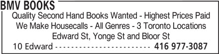 BMV Books (416-977-3087) - Annonce illustrée======= -