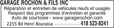 Garage Rochon & Fils Inc (418-523-8241) - Annonce illustrée======= -