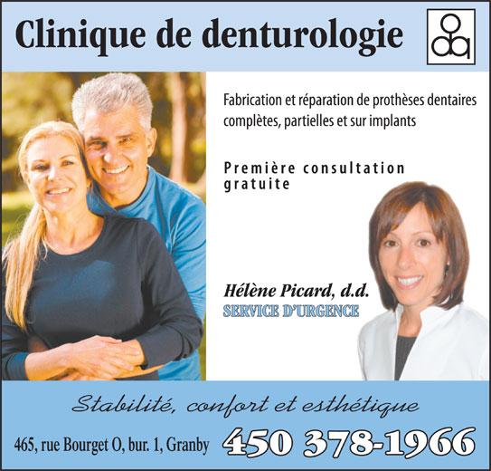Clinique de Denturologie Hélène Picard (450-378-1966) - Annonce illustrée======= -