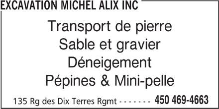 Excavation Michel Alix Inc (450-469-4663) - Annonce illustrée======= -