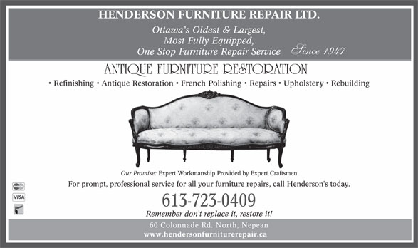 Henderson Furniture Repair - Opening Hours - 60 Colonnade ...