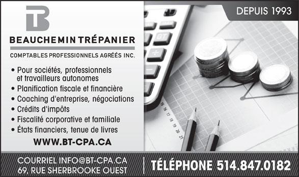Beauchemin Trépanier CPA INC. Agrees Inc (514-847-0182) - Annonce illustrée======= -