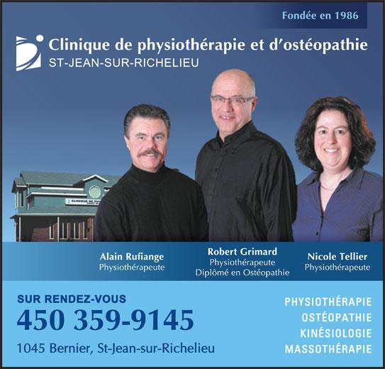 Clinique de Physiothérapie et D'Ostéopathie St Jean Sur Richelieu (450-359-9145) - Annonce illustrée======= -