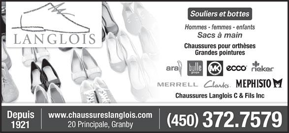 Chaussures Langlois C & Fils Inc (450-372-7579) - Annonce illustrée======= -