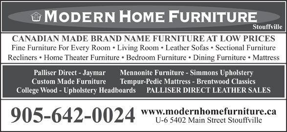 Modern home furniture inc stouffville on 6 5402 main for Meuble jaymar montreal