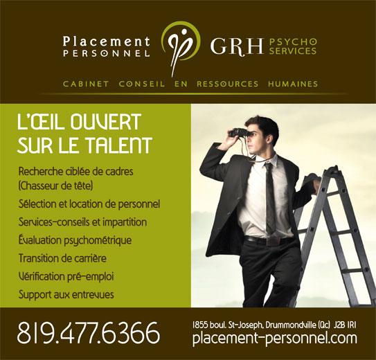Placement Personnel GRH Psycho Services (819-477-6366) - Annonce illustrée======= -