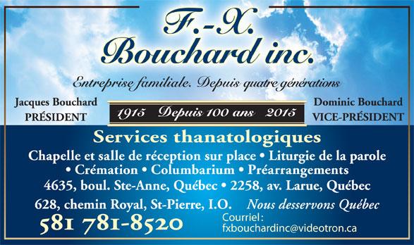 F-X Bouchard inc (418-663-9838) - Annonce illustrée======= - Courriel :