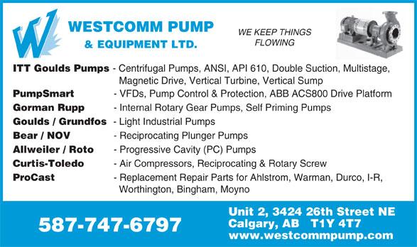 Westcomm Pump & Equipment Ltd (403-215-7867) - Display Ad -