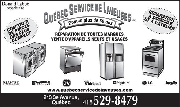 Québec Service de Laveuses Inc (418-529-8479) - Annonce illustrée======= -