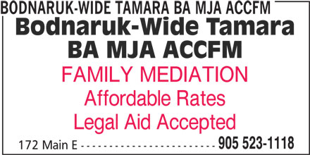 Bodnaruk-Wide Tamara BA MJA ACCFM (905-523-1118) - Annonce illustrée======= -