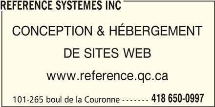 Référence Systèmes Inc (418-650-0997) - Annonce illustrée======= -