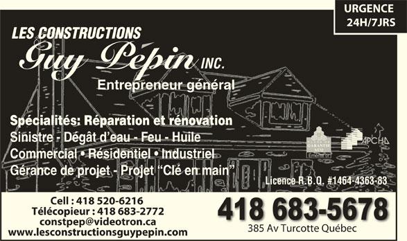 Les Constructions Pépin Guy Inc (418-683-5678) - Annonce illustrée======= -