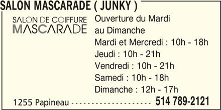 Salon de Coiffure Mascarade (514-789-2121) - Annonce illustrée======= -