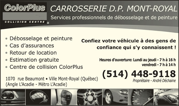 Carrosserie Dp Mont Royal (514-448-9118) - Annonce illustrée======= -