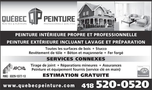 Québec Peinture (418-520-0520) - Annonce illustrée======= -