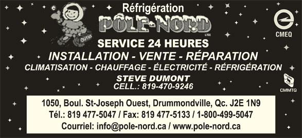 Réfrigération pôle nord Ltée (819-477-5047) - Annonce illustrée======= - CMEQ CMMTQ