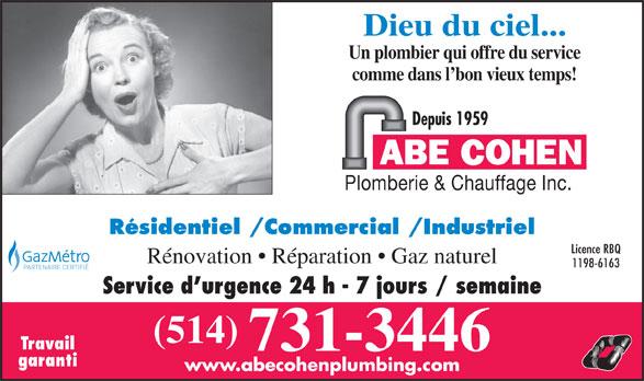 Ads Abe Cohen Plumbing & Heating Inc