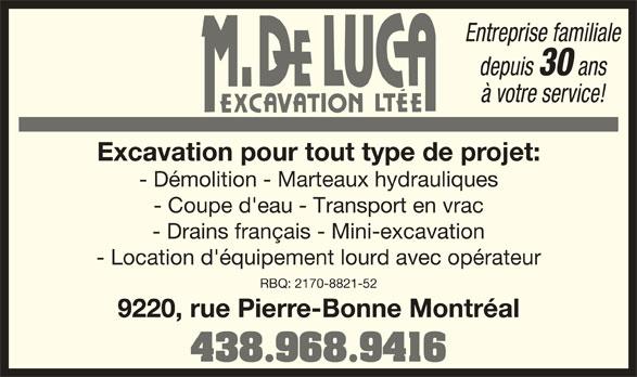 De Luca M Excavation Ltée (514-725-8675) - Annonce illustrée======= -