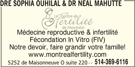 Le Centre de Fertilité de Montréal (514-369-6116) - Annonce illustrée======= -