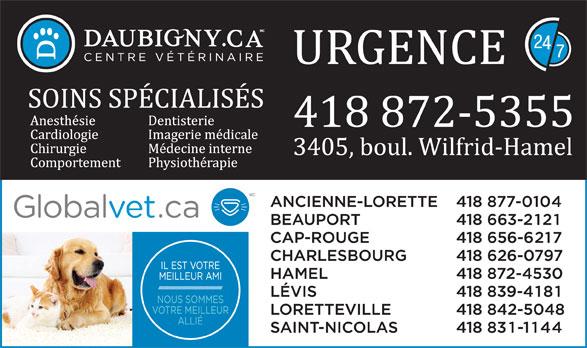 Centre Vétérinaire Daubigny (418-872-5355) - Annonce illustrée======= -