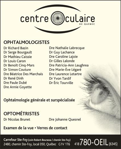 Centre Oculaire de Québec (418-780-6345) - Annonce illustrée======= -