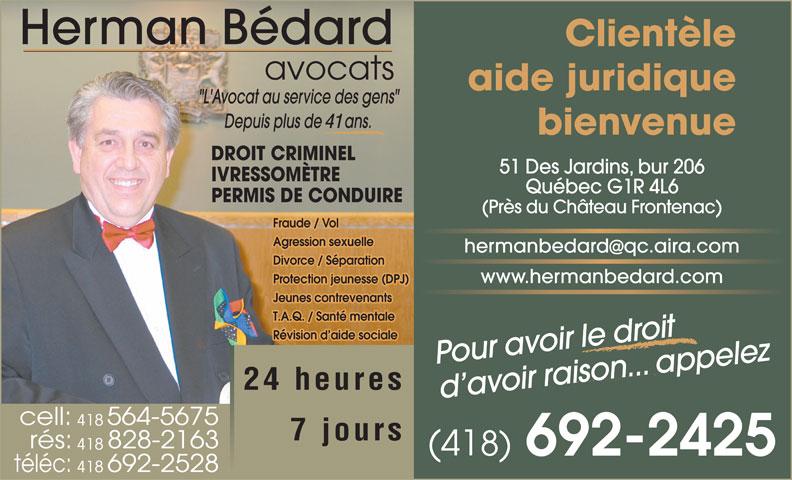Bédard Herman (418-692-2425) - Annonce illustrée======= -