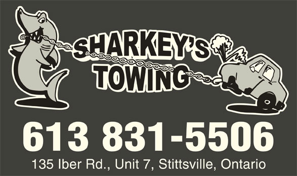 Sharkey's Towing And Road Service (613-831-5506) - Display Ad - 613 831-5506 135 Iber Rd., Unit 7, Stittsville, Ontario
