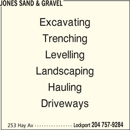 Jones Sand & Gravel (204-757-9284) - Annonce illustrée======= -