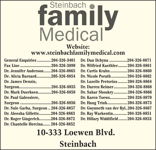 Ads Steinbach Family Medical Center