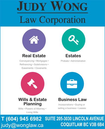 Wong Judy Law Corp (604-945-6982) - Display Ad -