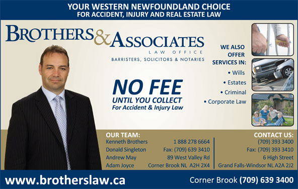 Brothers & Associates Law Office (709-639-3400) - Display Ad -