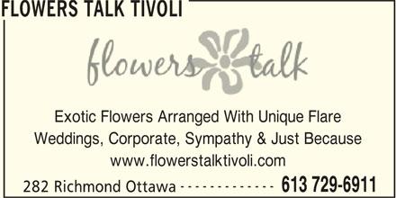 Flowers Talk Tivoli (613-729-6911) - Display Ad -