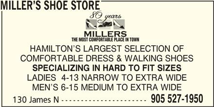 Miller's Shoe Store (905-527-1950) - Annonce illustrée======= -