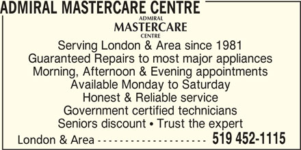 Admiral Mastercare Centre 1811 Park Ave London On
