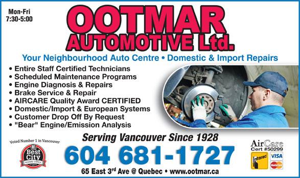 Ootmar Automotive Ltd (604-681-1727) - Display Ad -