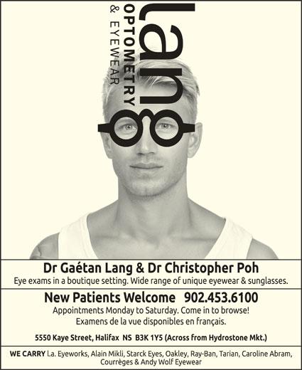 Lang Optometry & Eyewear (902-453-6100) - Annonce illustrée======= -