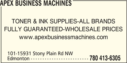 Apex Business Machines (780-413-6305) - Annonce illustrée======= -