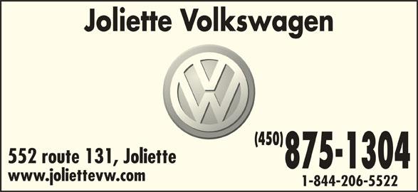 Joliette Volkswagen (450-756-4515) - Annonce illustrée======= - Joliette Volkswagen (450) 552 route 131, Joliette 875-1304 www.joliettevw.com 1-844-206-5522