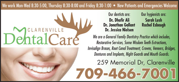 Clarenville Dental Care (709-466-7001) - Display Ad -