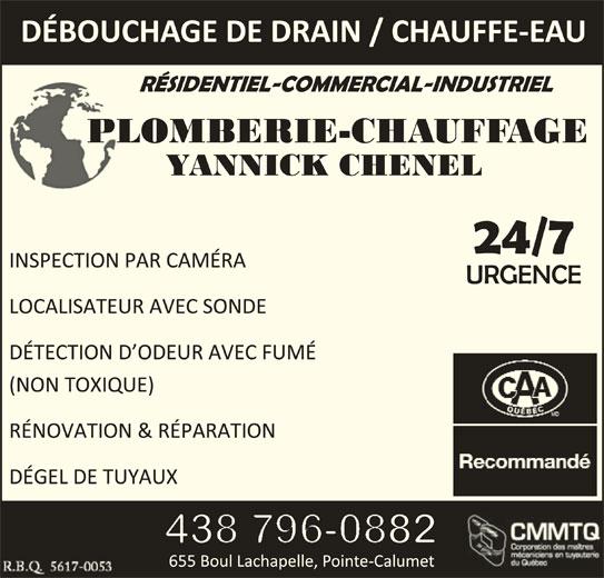 Plomberie Chauffage Yannick Chenel (514-609-8242) - Annonce illustrée======= -