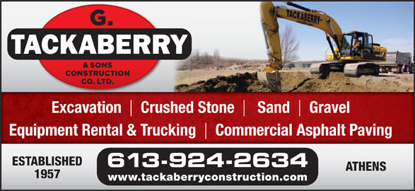 Tackaberry G & Sons Construction Co Ltd (613-924-2634) - Annonce illustrée======= -