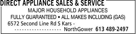 Direct Appliance Sales & Service (613-489-2497) - Display Ad - MAJOR HOUSEHOLD APPLIANCES FULLY GUARANTEED ¿ ALL MAKES INCLUDING (GAS)