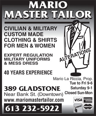 Mario Master Tailor (613-232-5922) - Display Ad